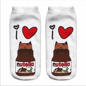 "New Funny 3d Print Socks Cute 3D White ""nutella"""